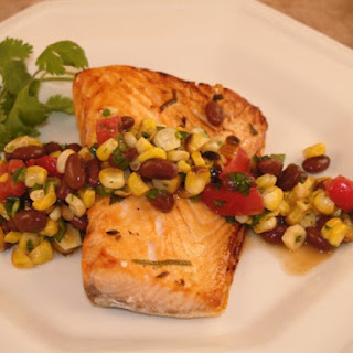 Ranchero Grilled Salmon Steak With Roasted Corn-Black Bean Salsa