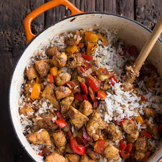 30 Minute Healthy Cajun Chicken and Rice.