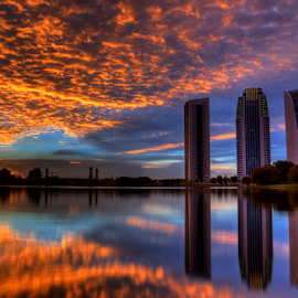 Putrajaya view at sunset by Hafiz Hj Ismail - Buildings & Architecture Public & Historical ( building, sunset, lake, bridge, landscape, slow shutter )
