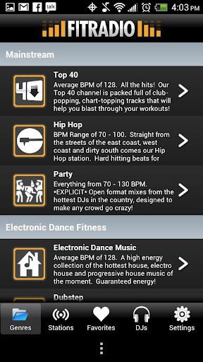 fit-radio-workout-music for android screenshot