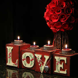 LOVE by Freda Nichols - Artistic Objects Still Life ( love, reflection, red, heart, candles, dark, flowers, necklace, flame, improving mood, moods, the mood factory, inspirational, passion, passionate, enthusiasm )