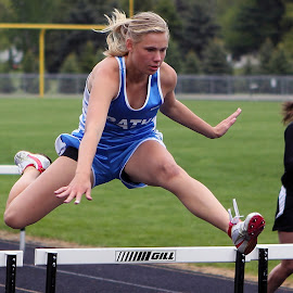 Hurdler by Marc Wahrer - Sports & Fitness Running ( hurdler, girl, jumping, track, sports )