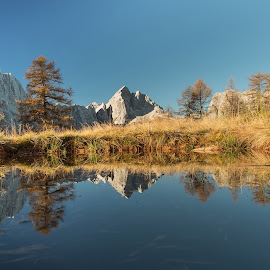 Reflection by Ziga Camernik - Landscapes Mountains & Hills ( water, reflection, mountain, autumn, peak, slovenia, lake, jalovec, alps,  )