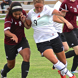 Shoulder Charge by Steven Aicinena - Sports & Fitness Soccer/Association football ( women, soccer )