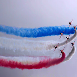 red white and blue by Sandy Crowe - Transportation Airplanes ( red arrows, airplane, display, smoke, air show )