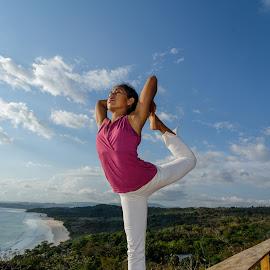 Balance over the sea. by Alexandre Ribeiro Dos Santos - Sports & Fitness Other Sports ( wild, balaustrade, white, nihiwatu, landscape, balance, sumba, sky, nature, indonesia, resort, pink, meditation, yoga )