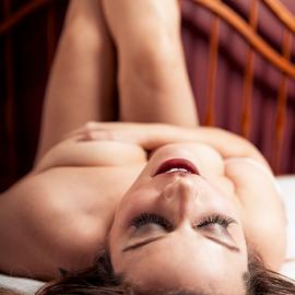 Climax by Joseph Humphries - Nudes & Boudoir Boudoir ( eyelashes, bed, boudoir, lips, handbra, lashes, hair, cleavage, bedroom )