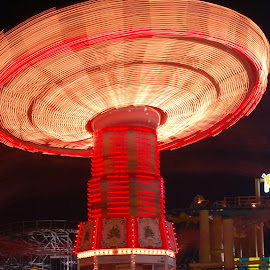 Fair ride slow exposure by Tony Moore - Abstract Light Painting ( ride, lights, time, shutter drag, time exposure, fairground, fair, slow shutter )