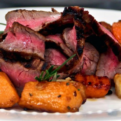Soy and Lime Marinated Beef Flank Steak with Roasted Root Vegetables