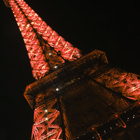 Eiffel Tower By Night by Sarah Brouckaert - Buildings & Architecture Statues & Monuments