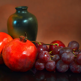 Still life by Prasanta Das - Food & Drink Fruits & Vegetables ( grapes, still life, pomegranates )