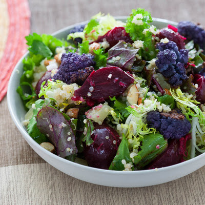 Winter Green, Colored Cauliflower & Beet Salad with Quinoa, Almonds & Manchego Cheese