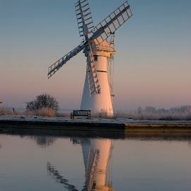 Thurne Mill by Kevin Myhill - Buildings & Architecture Other Exteriors ( frosty thurne, reflection, frost, still, sunrise, mist, river,  )