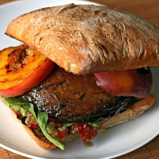 Grilled Portobello and Peach Sandwich