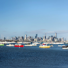 by Charisse Seymour - City,  Street & Park  Skylines ( skyline, bay, bright, melbourne, boats, sea, ocean, city )