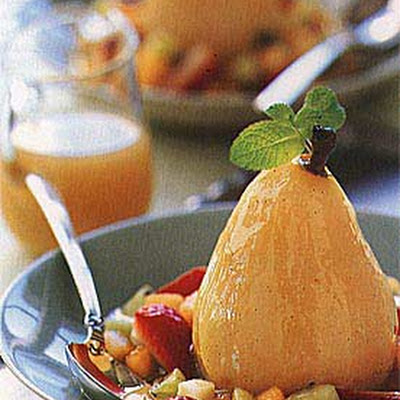 Poached Pears with Sweet Wine and Fruit Confetti