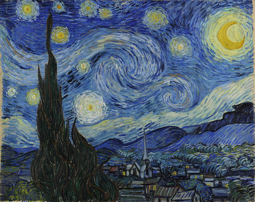 "from MoMA.org: ""This morning I saw the country from my window a long time before sunrise, with nothing but the morning star, which looked very big,"" van Gogh wrote to his brother Theo, from France. Rooted in imagination and memory, The Starry Night embodies an inner, subjective expression of van Goghs response to nature. In thick, sweeping brushstrokes, a flamelike cypress unites the churning sky and the quiet village below. The village was partly invented, and the church spire evokes van Gogh's native land, the Netherlands.  AUDIO: Find out what makes Van Gogh's The Starry Night an expressionist landscape.  http://www.moma.org/explore/multimedia/audios/3/2321"