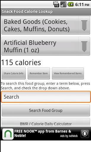 Snack Food Calorie Lookup