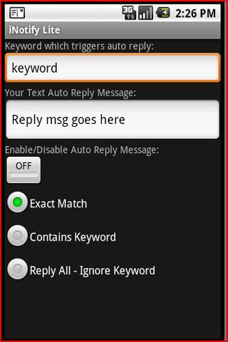 iNotify Lite - Auto Text Reply