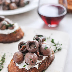Red Wine Roasted Mushrooms on Goat Cheese Garlic Toasts