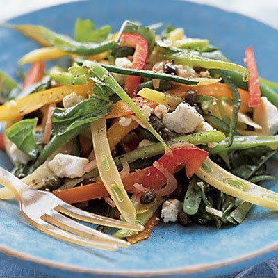 Multicolored Pepper-and-Bean Salad with Ricotta Salata and Herbs