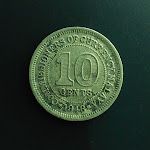 10 Cents, Commissioners of Currency Malaya, 1948, obverse.