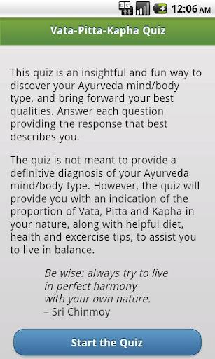 Ayurveda Vata-Pitta-Kapha Quiz