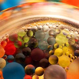 Captured by Janet Herman - Abstract Macro ( water, abstract, macro, are, floating, captured, water and oil, spheres, oil )