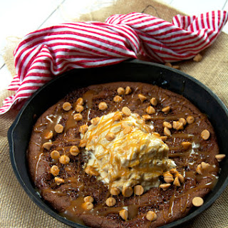 {Flourless} Peanut Butter Skillet Cookie with Caramel Macchaito Ice Cream
