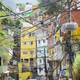 Favela by Tomek Karasek - City,  Street & Park  Neighborhoods ( rio, favela, slums, street, cables )