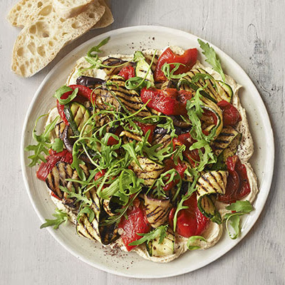 Layered Houmous & Griddled Vegetable Salad