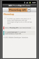 Screenshot of PhoneGap API Demo by MDS