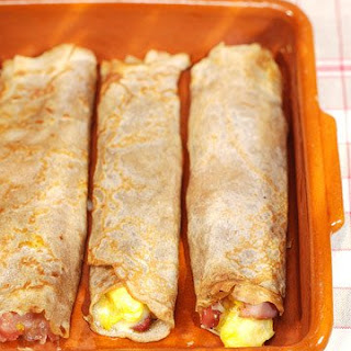 Buckwheat Crepes with Eggs, Ham, and Gruyere