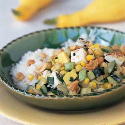 Thai Summer Squash and Tofu with Fresh Corn
