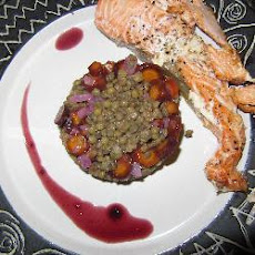 Salmon fillet with Puy lentils