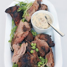 Spiced Slow-Roasted Pork Shoulder with Salt-Baked Shallot and Tarragon Creme Fraiche