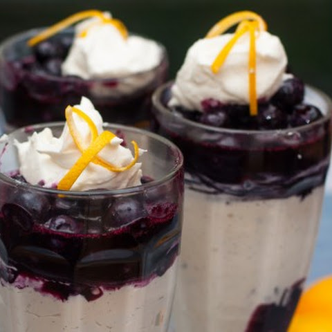 Cheesecake Mousse with Meyer Lemon and Blueberry Compote