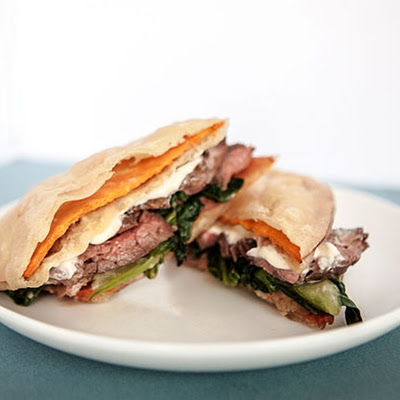 Sweet Potato Tempura and Steak Sandwich with Bok Choy and Miso Mayo
