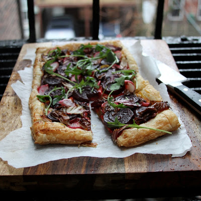 Savory Beet Tart with Radishes and Radicchio