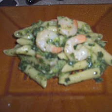 Cream of Spinach n' Shrimp Over Pasta