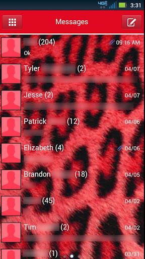 GO SMS THEME - Red Cheetah