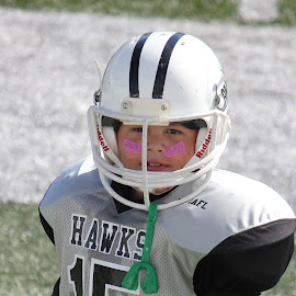 Mighty Mites Football YAFL by Cora Hernandez - Sports & Fitness American and Canadian football ( youth football, breast cancer awareness, football, lineman )