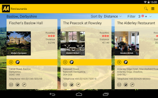 Screenshot of AA Restaurant Guide