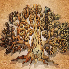 by Goran Lee - Illustration Abstract & Patterns ( art, 3d, steampunk, tree, wood )
