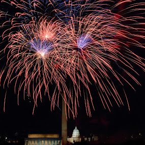 Over the Monuments by Dan Girard - Public Holidays July 4th ( monuments, dan_girard_photography, state capital, 2014, district of columbia, dan girard photography, fireworks, washington monument, 4th of july, lincoln monument )