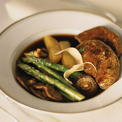 Roasted Mushrooms with Asparagus and Parmesan Cheese