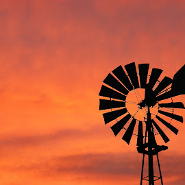 Windmill at Sunset by Larry Strong - Artistic Objects Other Objects ( sunset, windmill )