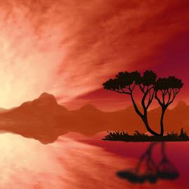 Orange Dream by Leslie Collins - Digital Art Places ( clouds, orange, mountains, reflection, sky, sunset, digital art, trees )