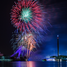 The Firework of Putrajaya by Mohammad Khairizal Afendy - Public Holidays New Year's Eve ( water, floria, firework, waterscape, putrajaya, sea, night, malaysia, cityscape, , Fireworks, Cityscape, Celebration, Countdown )
