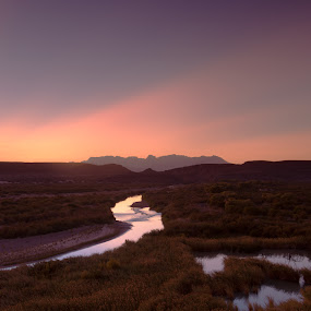 Rio Grande Sunset by Launa Bodde - Landscapes Deserts